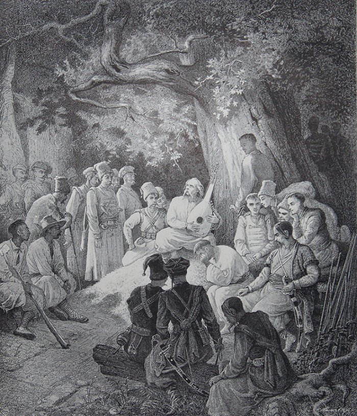 Гайдамаки під дубом (ілюстрація О. Сластіона)