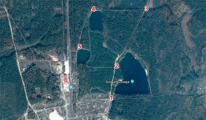 Місце розташування блакитних озер
