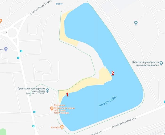 Розташування ополонок на озері Тельбін