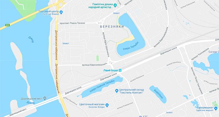 Розташування озера Тельбін на карті