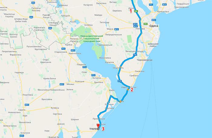 Схема проїзду до автокемпінгу біля села Курортне