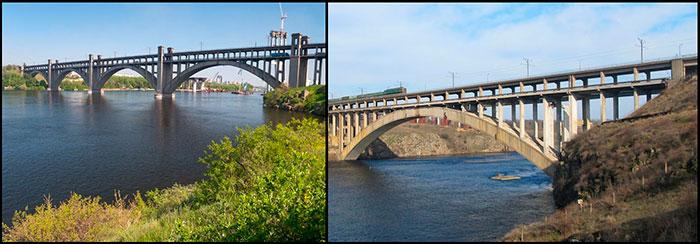 Зліва багатоарковий міст Преображенського, справа – одноарковий