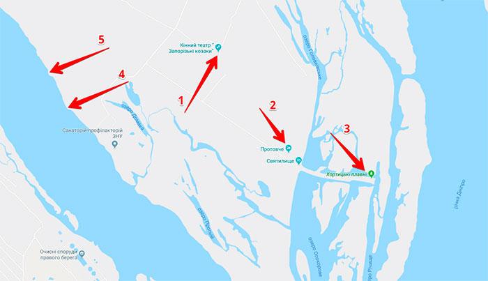 Мапа цікавих місць південної Хортиці