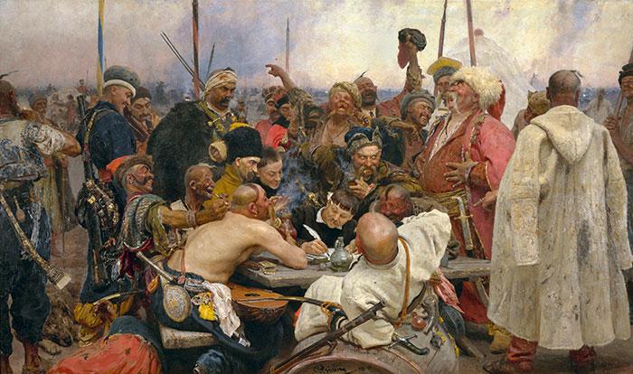 Картина Рєпіна - Козаки пишуть листа турецькому султану