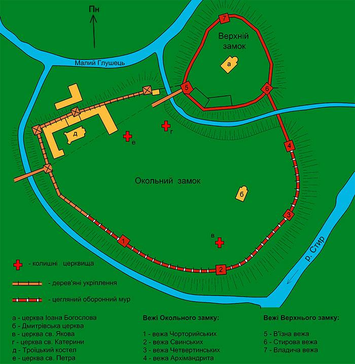 Карта Луцького замку за часів Любарта