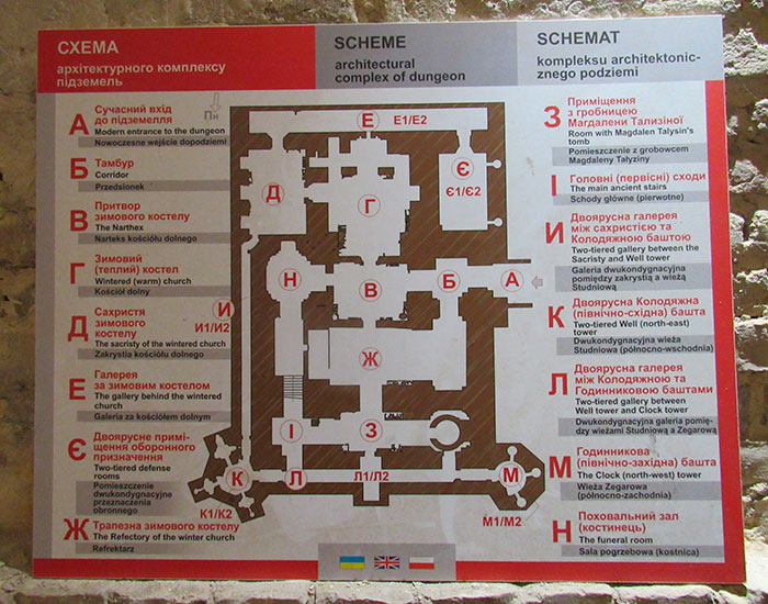 Карта підземель костелу