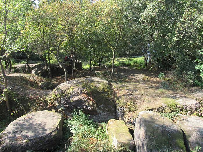 Поєднання каміння і дерев в ландшафті Древлянського парку