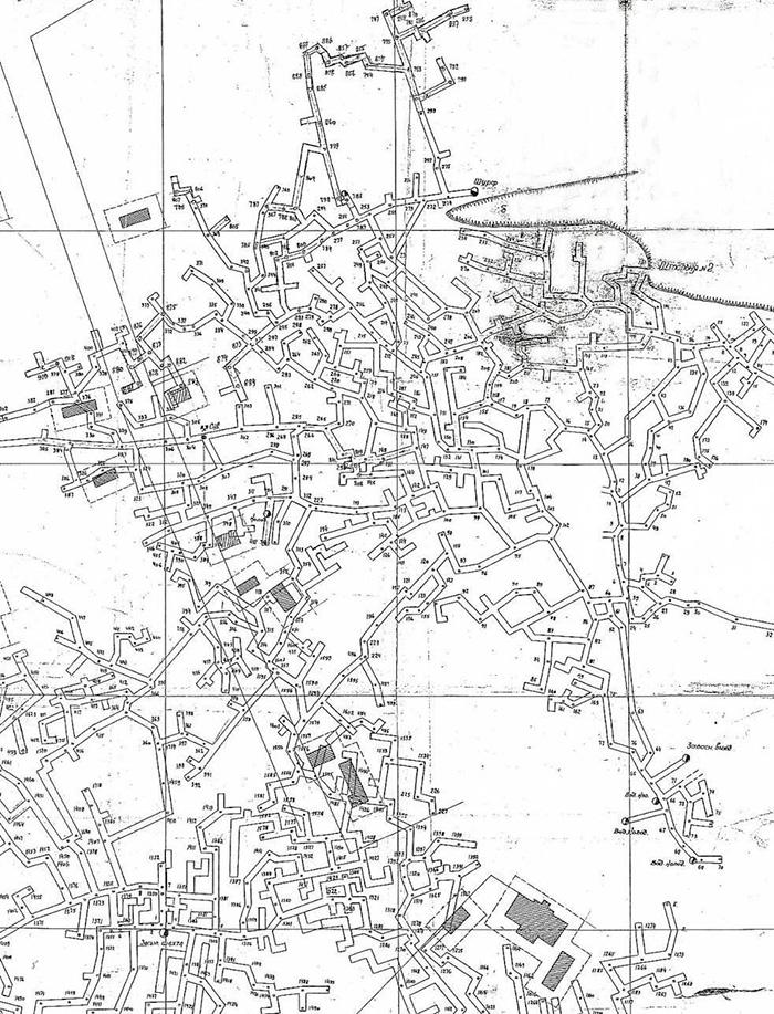 Фрагмент плану катакомб під селом Холодна Балка