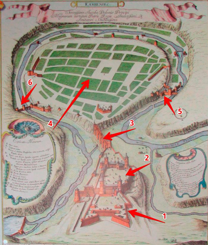 Розташування фортеці та міста Кам'янець