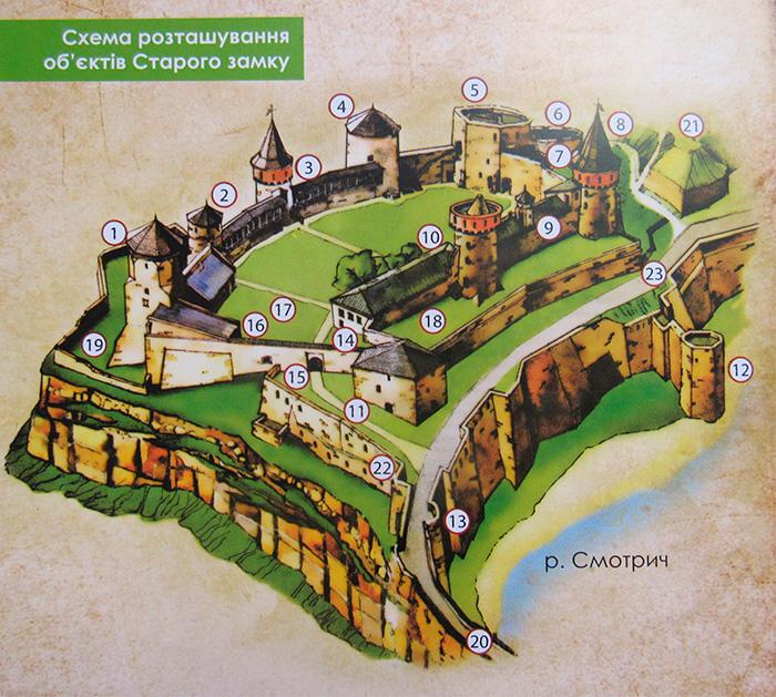 Схема розташування об'єктів Старого замку
