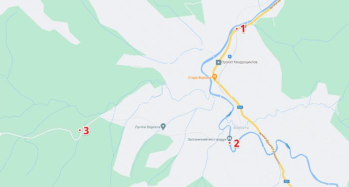 Мапа з оглядовими місцями віадуку у Ворохті